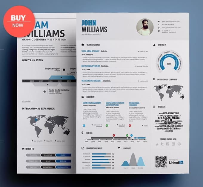 Design A Professional And Elegant Infographic Resume By