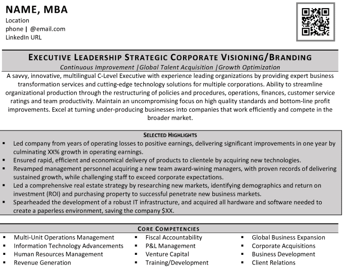 Write Your Director Vp Executive Level Resume
