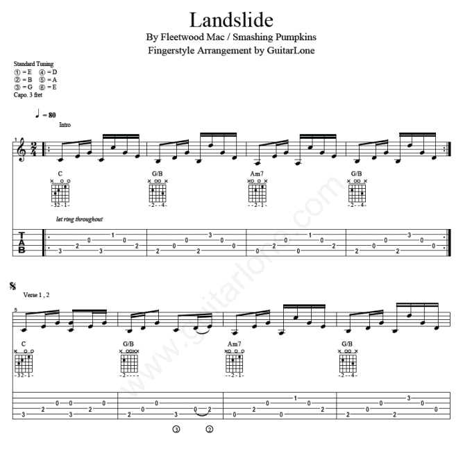 Two Fingerstyle Guitar Tabs Just Like Heaven And Landslide By Guitarlone