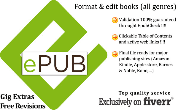 manually format your document to epub, free revisions