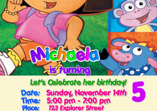 Create A Dora The Explorer Custom Birthday Invitation By Invites4kids