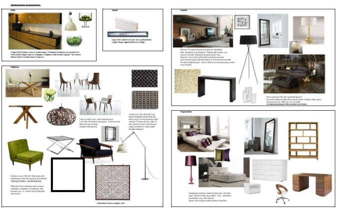 Make interior design concept board by Katariina