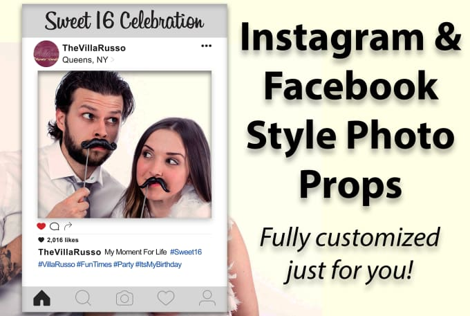 Design a facebook or instagram style photo frame or booth prop ...