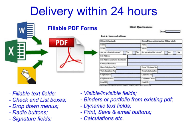 create a fillable pdf form within 24 hrs