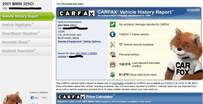 Provide Full Carfax History Report By Evertdutoit
