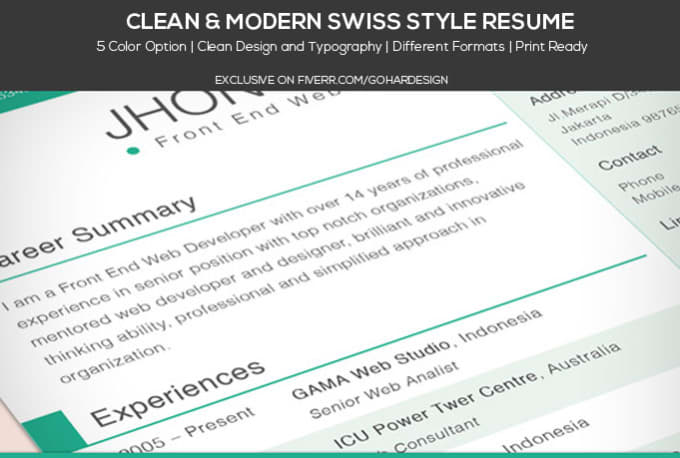 create a modern swiss style cv or resume by gohardesign