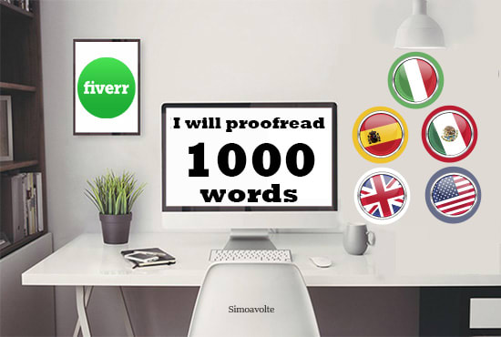 proofread and edit up to 1000 italian spanish english words