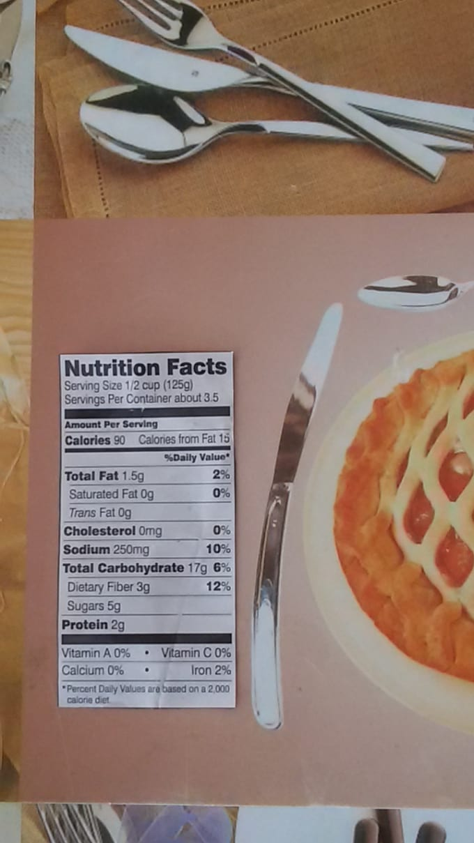 calculate nutrition facts for a food product