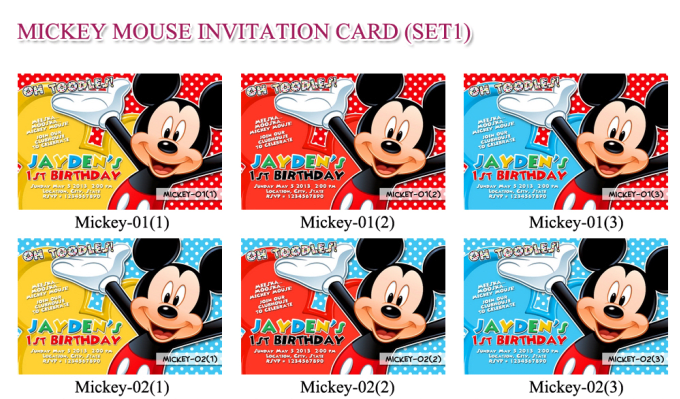 Customize A Mickey Mouse Invitation Card Based On Available Designs