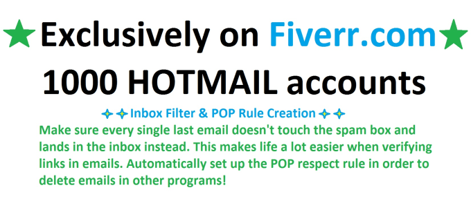 1000 hotmail accounts by apreview
