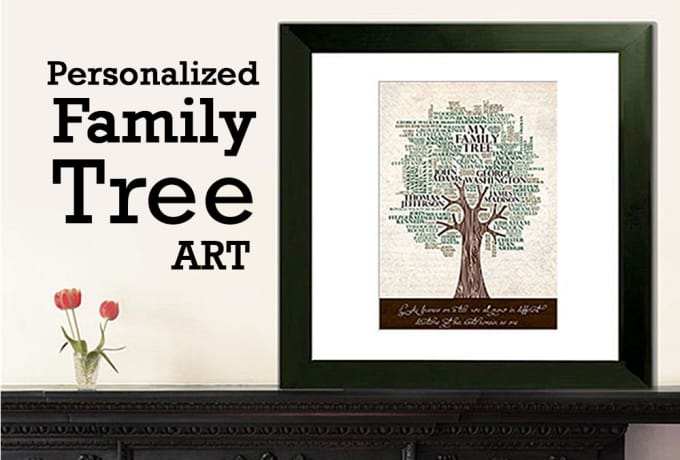 create a personalized wall family tree art poster by typoart9
