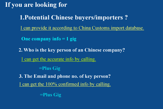 find out one Chinese importer name and contacts info