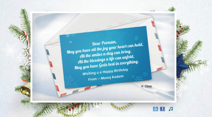 create a christmas or birthday or new year greetings