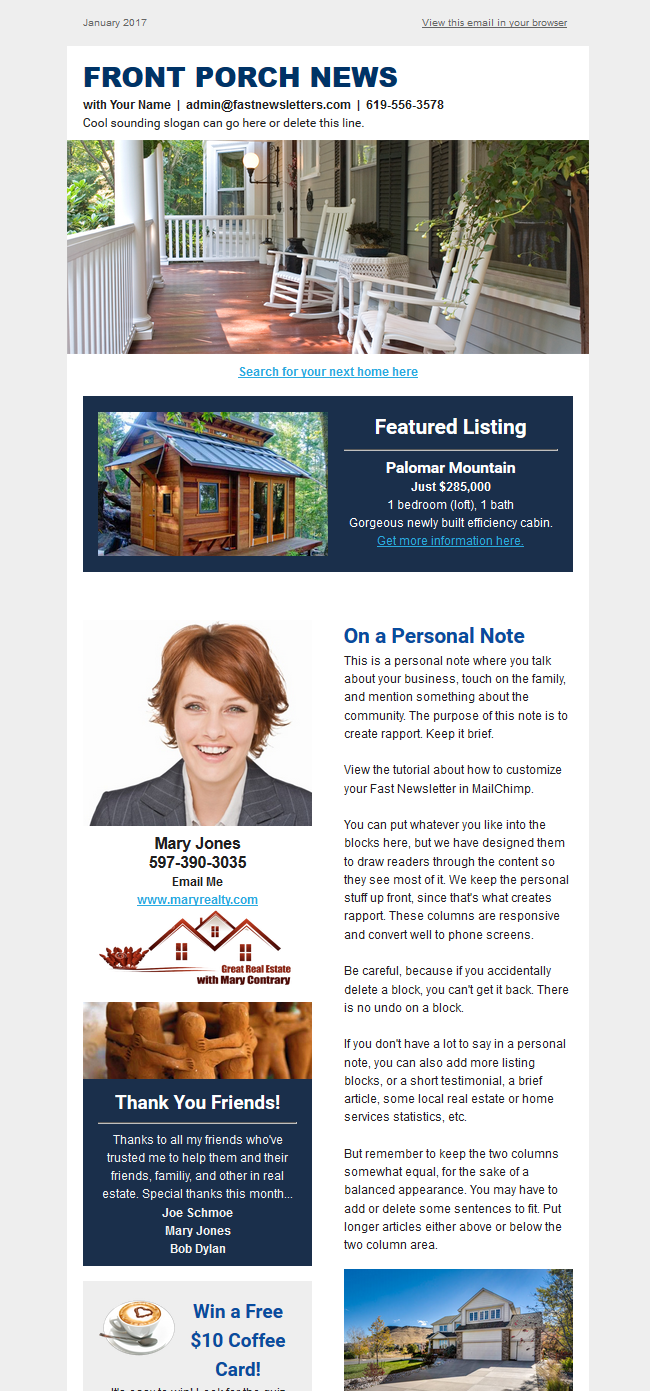 provide a monthly email real estate newsletter by accomplishtrain
