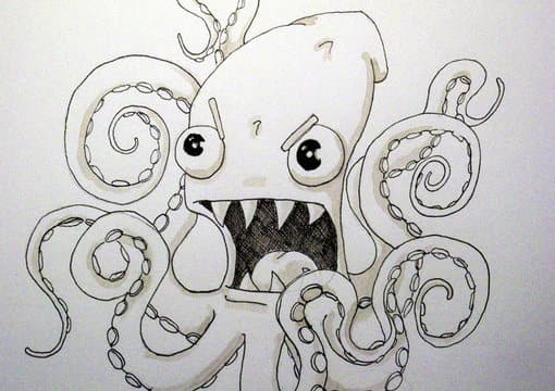 Line Drawing Monster : Draw you an angry octopus squid monster by stupidostrich