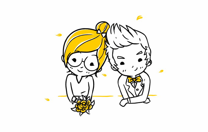 Draw Cute Cartoon Your Wedding Or Couple Character By Lazymonkey