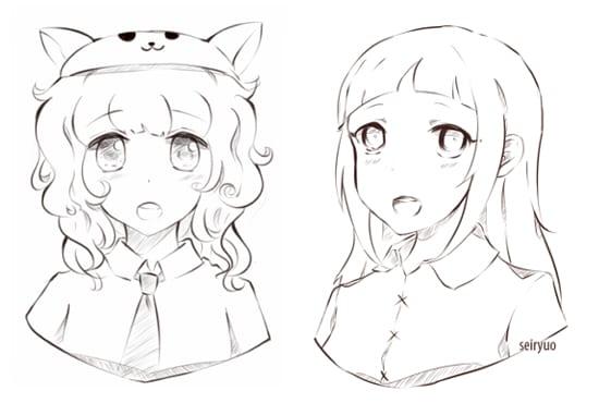 Draw you headshot sketch in cute anime manga style