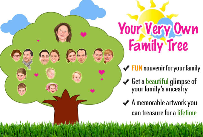 draw a premium memorable family tree caricature