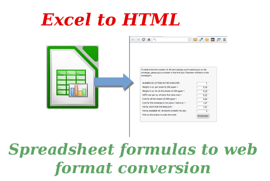 transform your Excel formulas to HTML to embed on the web