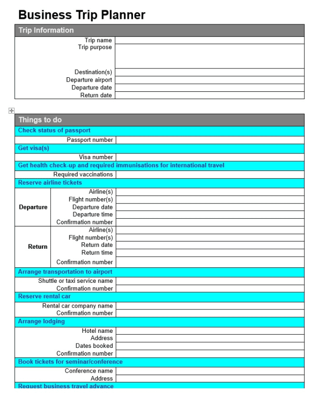 Give 2 business trip planner checklist templates as shown by aussie007 give 2 business trip planner checklist templates as shown flashek