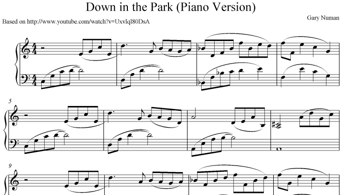 send you the sheet music for gary numan down in the park piano