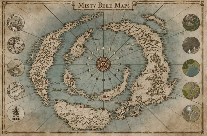 Draw custom fantasy map by Mistybeee on