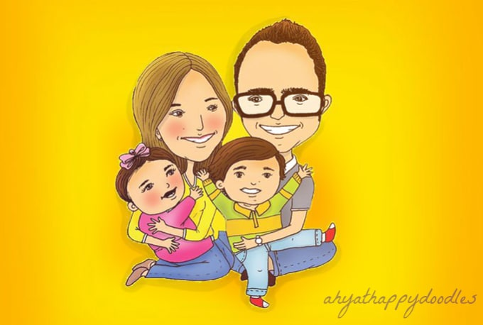 draw a cute family portrait in this lovely style by ahyat5ver