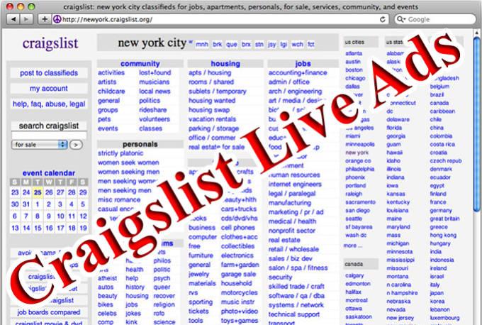 post 5 Craigslist Live Ads