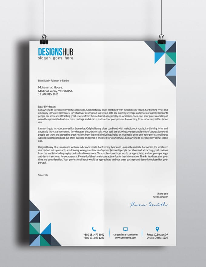 do professional letter head design with ms word file