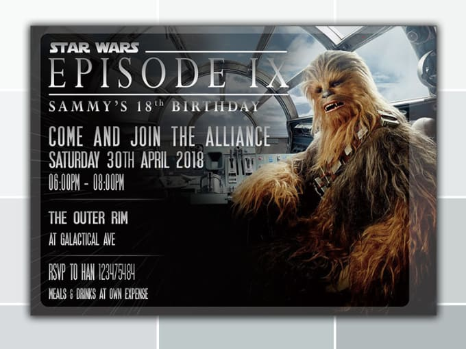 Design Your Chewbacca Starwars Birthday Invitation