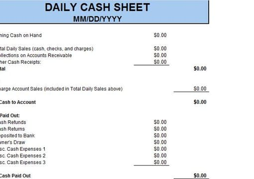 Give You The Daily Cash Sheet Excel Template By Richardandrews