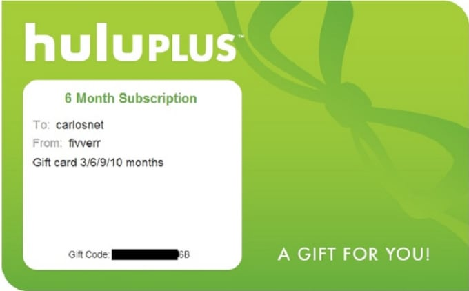 hulu Plus giftcode for 6 months