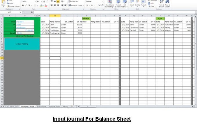create balance sheet by ms excel
