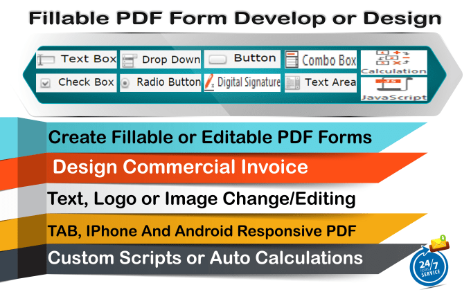 create fillable pdf form or design a fillable pdf invoice