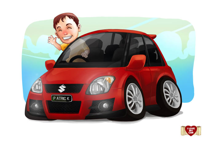 Draw your car into art cartoon style by Signdesigncomm