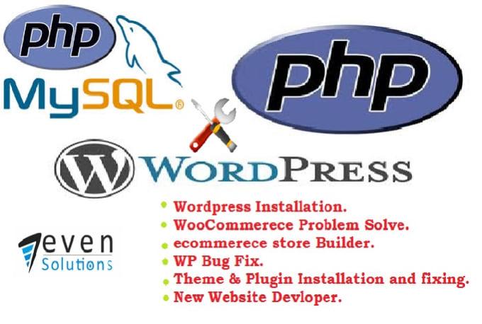 install,customize of wordpress,build estore,fix wp