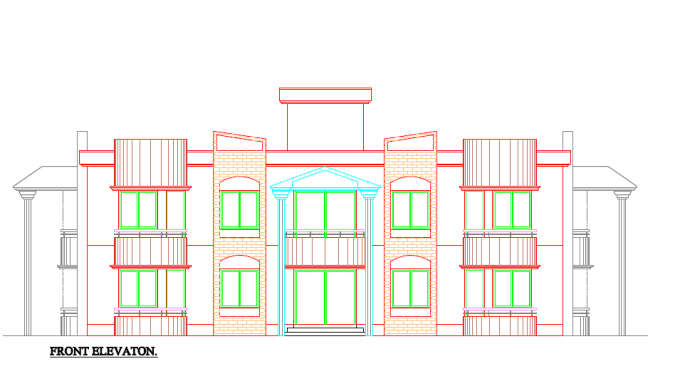 Front Elevation Autocad 2d : Draw d elevation in autocad by unique