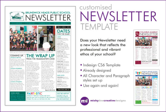 Customise A Newsletter Template In Indesign By Mishydee