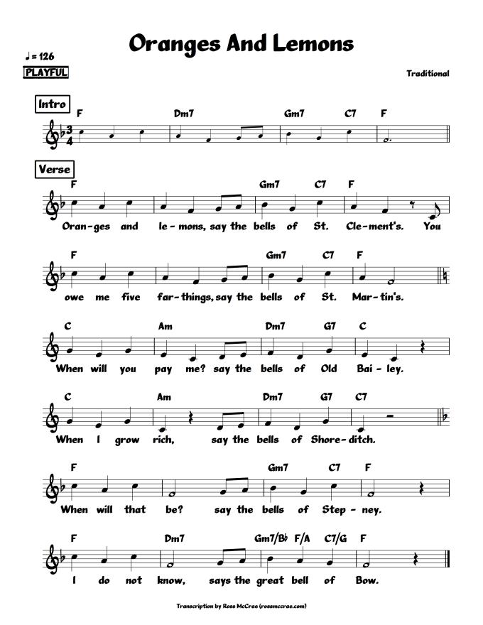 Song song sheet music : transcribe a tune / song into sheet music notation