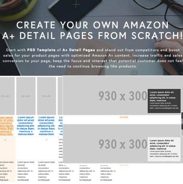 Send psd template of amazon a plus detail description page by Amz_expert