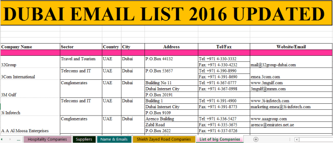 provide UAE and Dubai Business Directory Email Database 2016