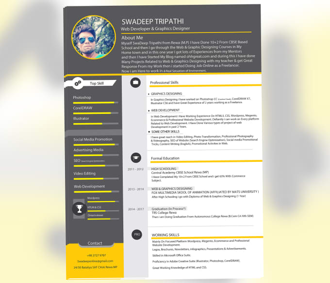 Swadeeptripathi I Will Design Attractive Resume Curriculum Vitae Cover Letter For 5 On Fiverr