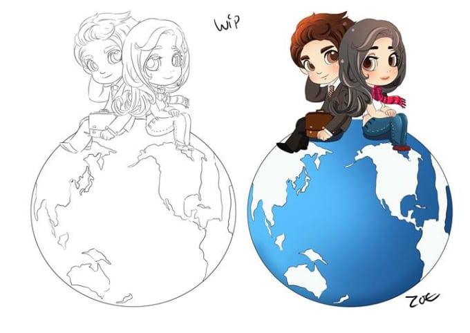 Draw Couple Manga Cartoon Chibi Wedding By Numity