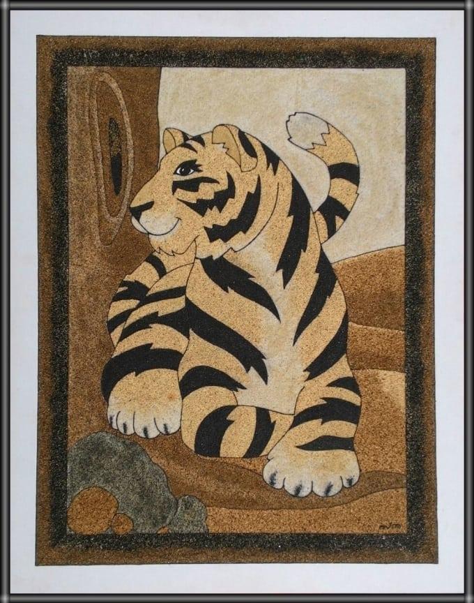 Create a sand art in frame by Sarankumar