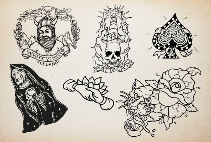 Draw Oldschool Sailor Traditional Tattoos Fiverr