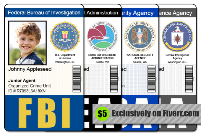 send 1 fbi cia nsa or dea id badge photoshop template by