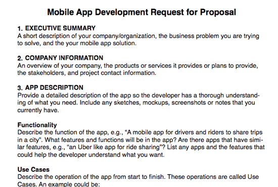 give you a mobile app rfp template