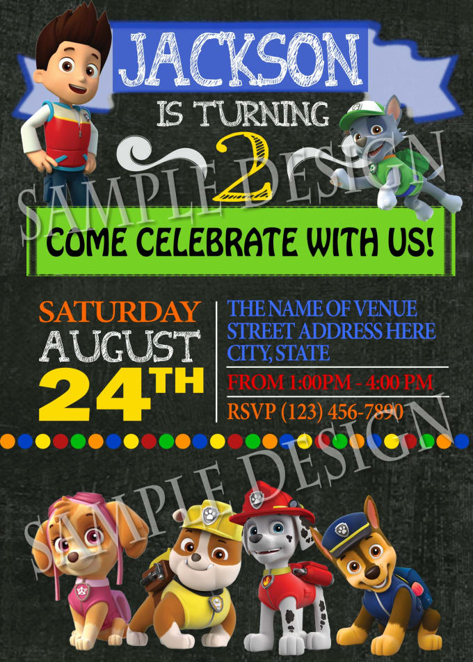 I Will Customize This Paw Patrol Birthday Invitation For Your Party