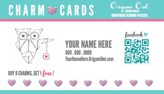 create an origami owl charm punch card for you by lizacatacutan