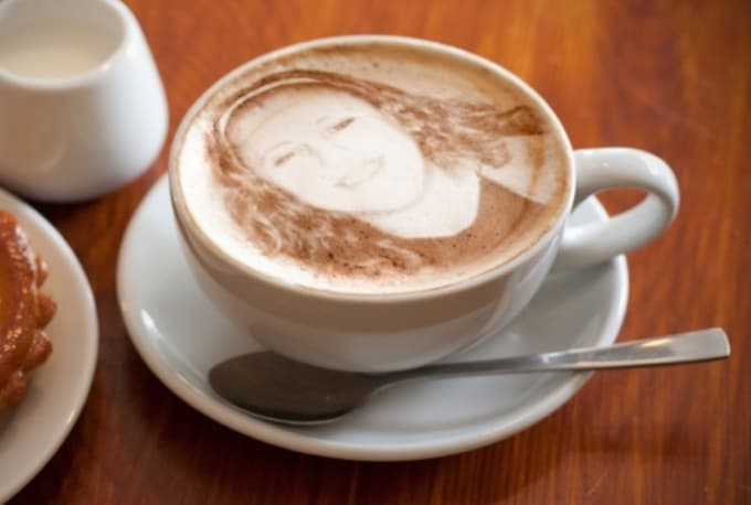 put your face pic or logo on cappuccino froth foam coffee mug by